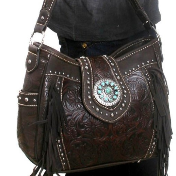 9cf8f77462a7 Trinity Ranch Partial Leather Concealed Carry Bag NWT